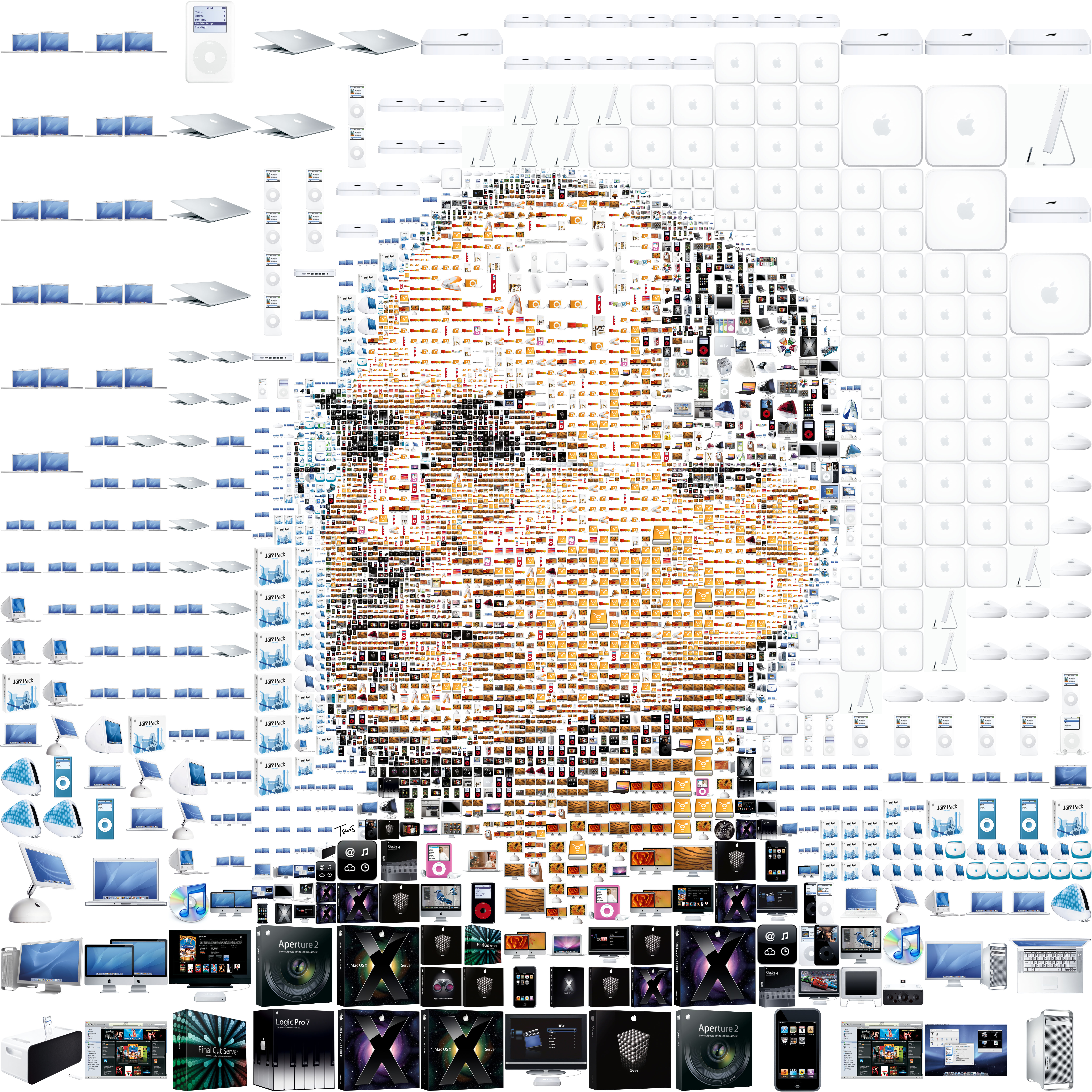Retrato de Jobs a base de iconos de Apple