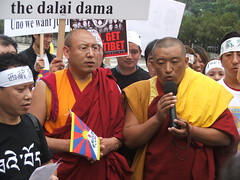 free tibet: buddhist monks protesting