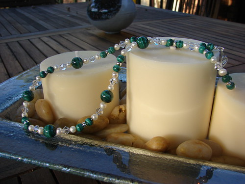Malachite, cultured pearl and Swarovski crystal necklace
