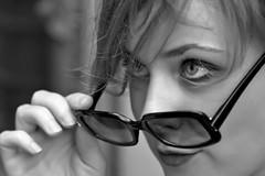 Discovering (Pensiero) Tags: portrait blackandwhite woman girl glasses donna eyes hand camilla ritratto ragazza occhiali wwwstefanocorsocom