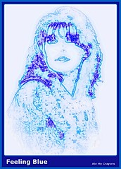 Feeling Blue (Ate My Crayons) Tags: blue portrait selfportrait art me photomanipulation altered self photography sketch photo sad digitalart gimp imagemanipulation lineart feelings scriptfu atemycrayons