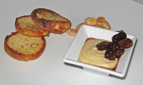 Chef Bob's Tasting Menu, Course 1: Foie Gras Mousse with Brandy-soaked Cherries and Toasted Brioche
