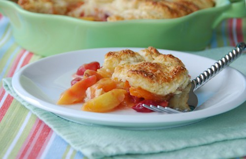 apricot cherry cobbler plate fork