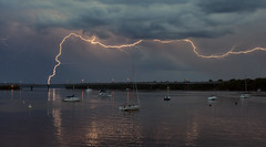 Boats + Lightning (Ottergoose) Tags: bridge sailboat stcroix hudson lightning i94 wisconsinthunderstorms tc082