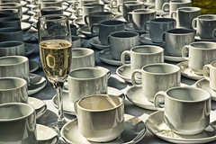 Champagne (Ren Ehrhardt) Tags: uk wedding england art college cup coffee ceramic religious pattern artistic unitedkingdom empty champagne traditional ceremony large marriage line christian clean reception custom setting berkshire effect occasion saucer identical catering bradfield unused lucisart lucis 2star betterthangood glascups numberlots reapeted jamesandjos