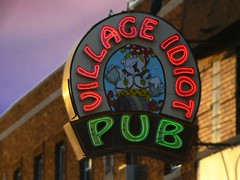 Village Idiot Pub - Detroit (DetroitDerek Photography ( ALL RIGHTS RESERVED )) Tags: red usa green sign bar drunk digital america idiot pub midwest neon village drink michigan detroit july panasonic alcohol 2008 mack 313 motown dmcfz30 cartoom