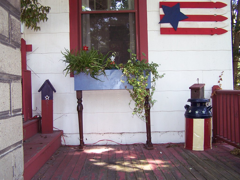 Picket Fence Flag and Milk Can