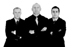 Three rugby legends on guard © Rob Watkins 2006 (Aland Rob) Tags: portrait fashion sport wales outside fly slam mood moody rugby 10 centre wing posed posing 7 grand number suit attitude seven half winner ten welsh fullback