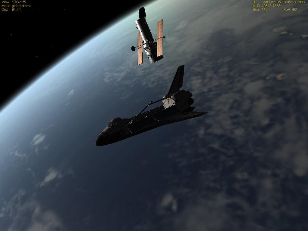 Shuttle under Hubble