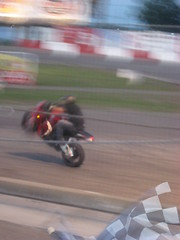 Halftime: Motorcycle Tricks (jerkytourniquet) Tags: minnesota nascar motorcycle wheelie stockcar shakopee shorttrack checkeredflag racewaypark stockcarraces