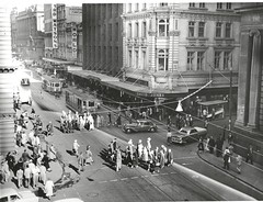 Bustling Sydney (State Records NSW) Tags: people blackandwhite streets buildings women sydney vehicles archives pedestrians newsouthwales trams georgestreet commuters tramtracks bustling barrackstreet staterecordsnsw rclasstramcars oclasstramcars srnsw:series=17420