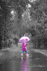 Journey ... (Arun's point of view) Tags: street pink blue trees blackandwhite black color reflection ice water girl beautiful rain hail umbrella purple boots afterstorm daughter creative explore trail journey curiosity littlekid waterice streetview pp pinkboots selective hailstorm undermyumbrella whiteflowers hailstones kittyboots photshopelements naturallightkids beautifulkid pinkali
