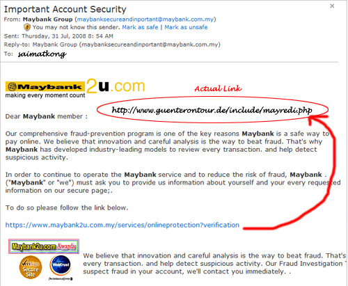 Maybank2u.com Email Phishing Scam In Hotmail