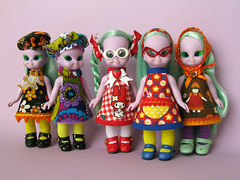 Eme Five! (Helena / Funny Bunny) Tags: vintage shoes doll dolls five group dresses straighthair 1972 embla illuminati luma baldie funnybunny emeraldwitch solidbackground ateliermatin blushychan
