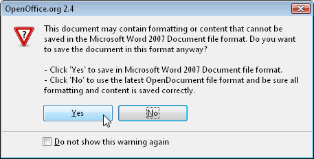 Typical Export Problem: Saving to OOXML from OO.o 2.4 (Novell edition)