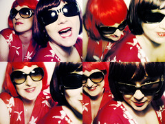 matching pair (Sexy Swedish Babe) Tags: red white sunglasses collage wig wigs blac nokia6630 basto thefloorlamp rockabillygal