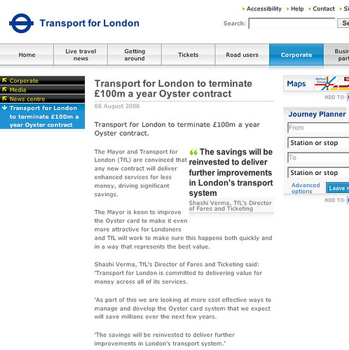 TfL terminating £100m a year Oyster contract - screenshot from TfL's site