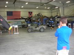 Bradley scopes it out (Rrrrred) Tags: history museum airplane cincinnati aircraft bradley batavia warbird warbirdmuseum tristatewarbirdmuseum