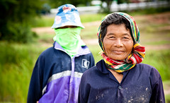 Rice field workers (miemo) Tags: old travel woman thailand asia rice worker farmer isan ef24105f4l amphoenonsung