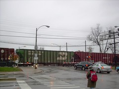 Eastbound BNSF Railway freight train at Prarie Avenue. Brookfield Illinois. November 2007.