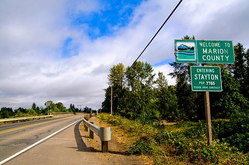 Welcome To Marion County - city and county limits signs in Stayton Oregon