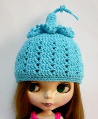 Blythe - Crocheted Hat - Frilly Pixie (melbangel) Tags: blue hat doll crochet yarn blythe accessories beanie cloche pixiehat