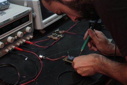 Alex soldering the wirelss transmitter