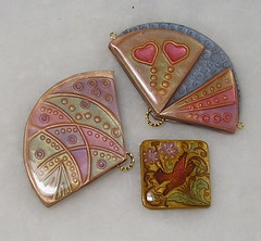 Polymer Clay Cloisonne Fan Pendants (auntgriz) Tags: necklace handmade polymerclay pendant