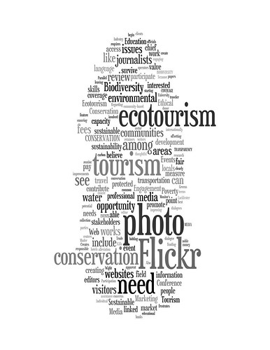 Wordle: Wish List for Responsible, Sustainable Ecotourism that Alleviates Poverty, Creates Jobs, Greens Transport and Events, Conserves Biodiversity, Fosters Education and Promotes Meaningful Engagement among Stakeholders while creating a Peaceful World