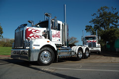 AT1424 (Australian Trucks Archive) Tags: road charity travel cruise tractor travelling industry animals kids rural truck balloons out children fun toys prime for drive big highway soft industrial colours ride diesel south country transport group australian horns australia semi special kind machinery event riding lorry rig transportation disabled land vehicle outback trucks trailer heavy sick fundraising convoy bitumen fuel services mover trucking helping semitrailer novita hearted childrens kids truckies convoy