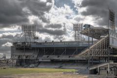 Tiger Stadium (eholubow) Tags: field grass clouds mi baseball stadium michigan tiger detroit demolition dirt