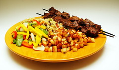 Whats for dinner tonight :) (Chief Inspector Jacques Clouseau) Tags: food vegetables rice almond sis kebab kebap hashbrown