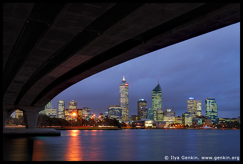 Perth downtown, View from under the Narrow Bridge, Perth, WA, Australia