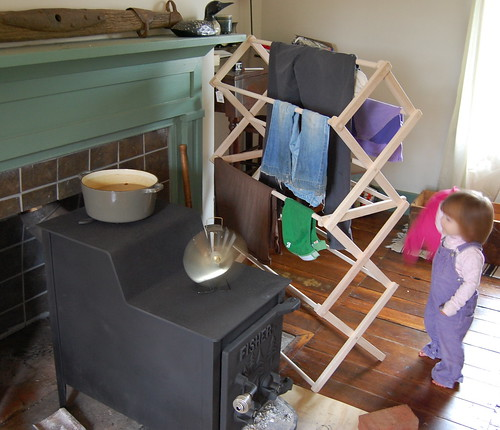 winter-time laundry drying system + clothes thief