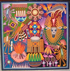 Huichol Yarn painting (Teyacapan) Tags: art colors mexico visions crafts artesanias paintings jalisco nayarit yarn peyote huichol
