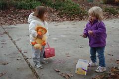 Elizabeth & Catie discuss the finer points of sidewalk chalk