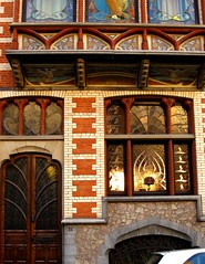 Art Nouveau Architecture, Sun and stained glass (hotcommodity) Tags: windows brussels colors architecture facade reflections belgium artnouveau brickwork jewel early20thcenturyarchitecture