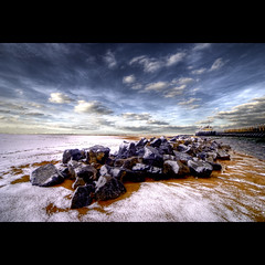 Oostende - Ostend Rocks on Snow (Dimitri Depaepe) Tags: winter snow beach clouds pier bravo rocks belgium belgie oostende hdr ostend firstquality aplusphoto