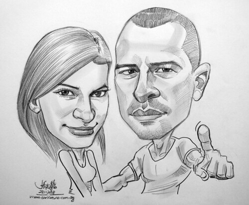 couple caricatures in pencil 231108
