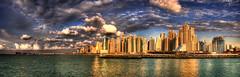 Jumeirah Beach Residence panorama (momentaryawe.com) Tags: sea sky panorama clouds dubai cloudy uae middleeast emirates hdr jbr jumeirahbeachresidence