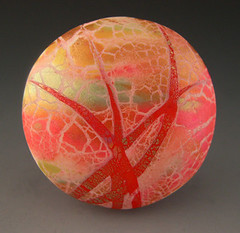 Red Sky at Night - Side 1 (metalartiste) Tags: pink red green gold polymerclay round bead pendant naftali focalbead artbead