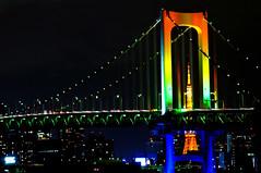[フリー画像] [人工風景] [建造物/建築物] [橋の風景] [レインボーブリッジ] [日本風景] [東京] [夜景]    [フリー素材]