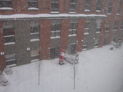 It's snowing! (All About Eve) Tags: christmas family famille winter snow holidays december hiver neige noël 2008 cour décembre pèrenoël fêtes viau biscuiterie intrieur