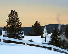 Dawn's Early Light (joscelynb) Tags: morning winter white snow church sunrise fence dawn town vermont village smoke corinth newengland steeple vt eastcorinth fotocompetition fotocompetitionbronze