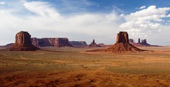 Monument Valley Vista (richardkingphoto) Tags: red arizona orange usa rabbit clouds king az bluesky monumentvalley mesa stagecoach mitten buttes americansouthwest sandsone westerns landscapeformat navajonations navajotribal thebigindian