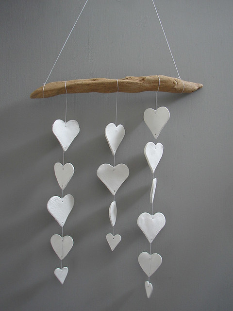 DIY: clay heart mobile