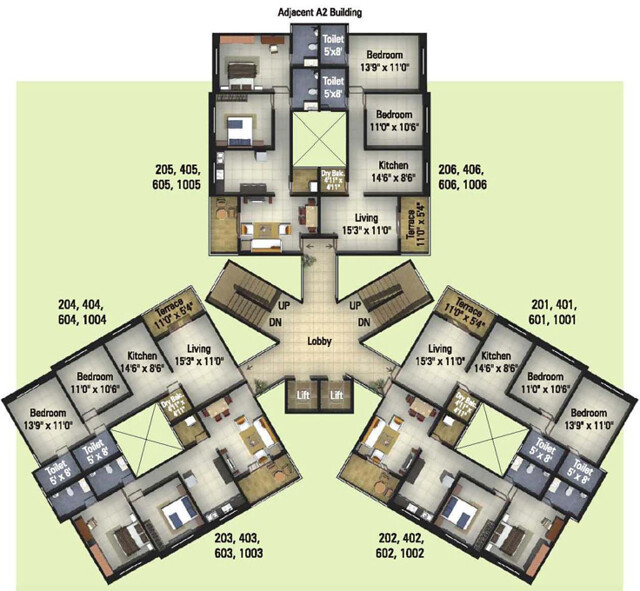 Kumar Properties' Kumar Palmcrest Pisoli Pune, Floor Plan Even Floors Flat Number 1,2,3,4 - 705 sq.ft. Carpet & Flat Number 5 & 6 - 694 sq.ft. Carpet