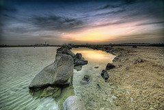 Early Morning, Late Night (Khaled A.K) Tags: morning sea sky seascape rock clouds sunrise reflections landscape photography sand cloudy jeddah saudiarabia khaled hdr waterscape ksa 3xp sigma1020 mywinners nikond80