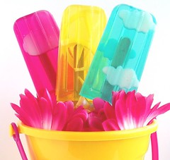 Soapsicle happiness! (soapylovedeb) Tags: pink blue summer color cute beach yellow kids fun happy neon bright turquoise lemonade fuschia flourescent primary popsicle cmyk soapsicle soapylove
