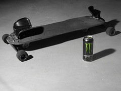 Freebord & Monster (Michael Dowe) Tags: shadow white black color green monster wisconsin canon energy power shot drink can accent mukwonago freebord dowe